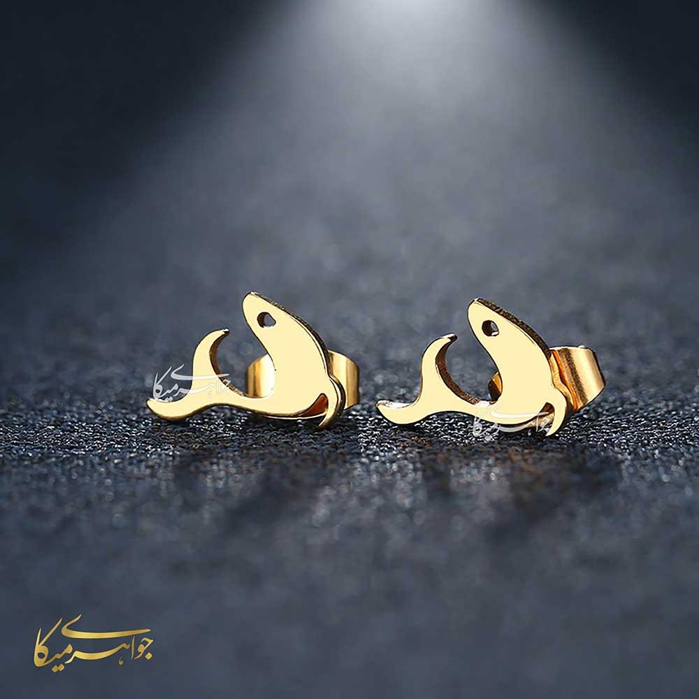 گوشواره میخی دلفین طلا 18 عیار کد 0510006