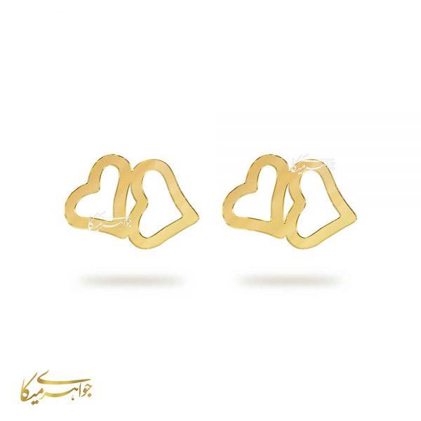 گوشواره میخی قلب طلا 18 عیار کد 0510007