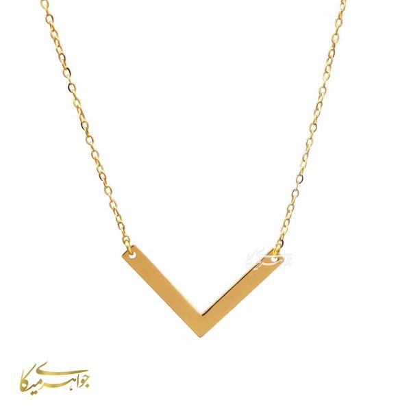 گردنبند طرح V طلا 18 عیار کد 0310004