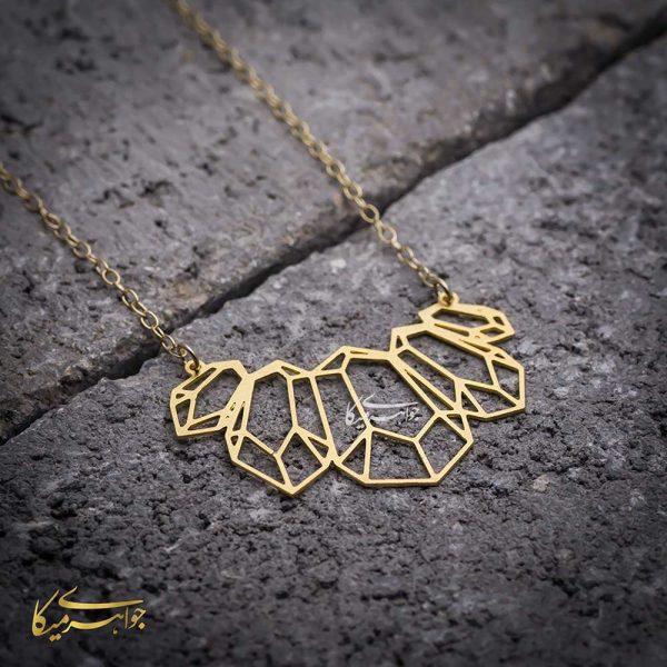 گردنبند طرح کریستال طلا 18 عیار کد 0310258