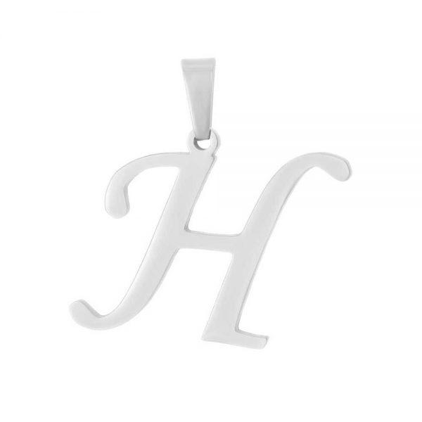 آویز گردنبند حرف H طلا 18 عیار کد 0610007 نقره ای