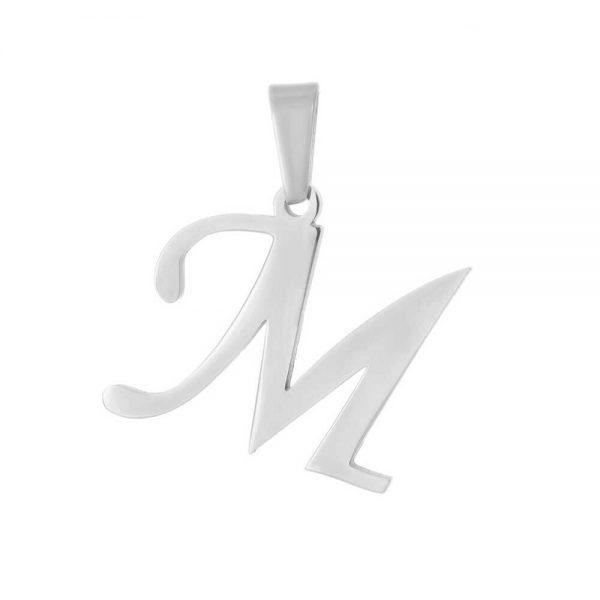 آویز گردنبند حرف M طلا 18 عیار کد 0610008 نقره ای