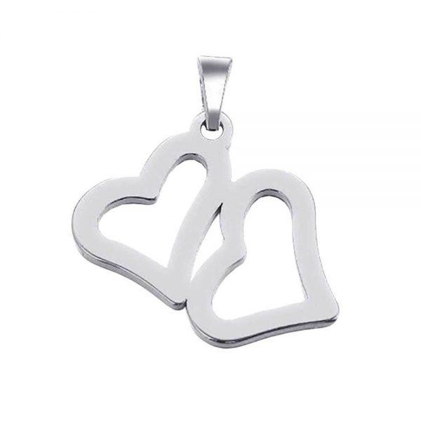 آویز گردنبند قلب طلا 18 عیار کد 0610016 نقره ای