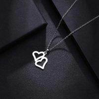آویز گردنبند قلب طلا 18 عیار کد 0610016 نقره ای دیزاین