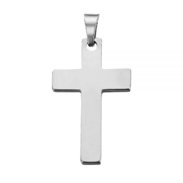آویز گردنبند اسپرت طلا 18 عیار طرح صلیب کد 0610021 نقره ای بکگراند سفید