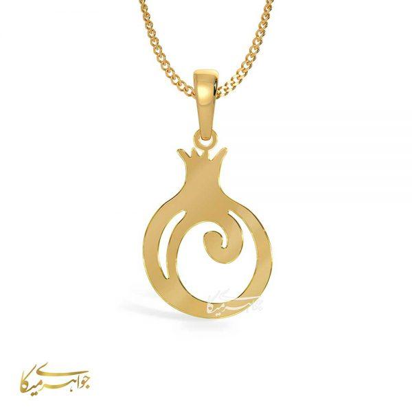 آویز گردنبند انار فانتزی طلا 18 عیار کد 0610252