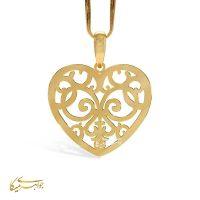 آویز گردنبند قلب اسلیمی طلا 18 عیار کد 0610304 طلایی