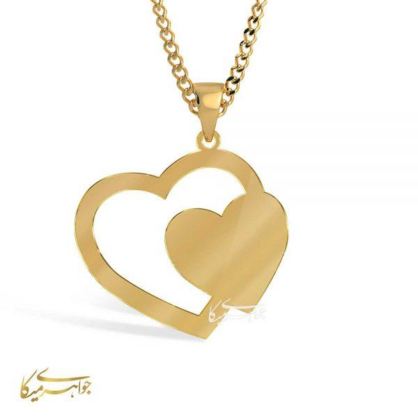 آویز گردنبند قلب طلا 18 عیار کد 0610305 طلایی