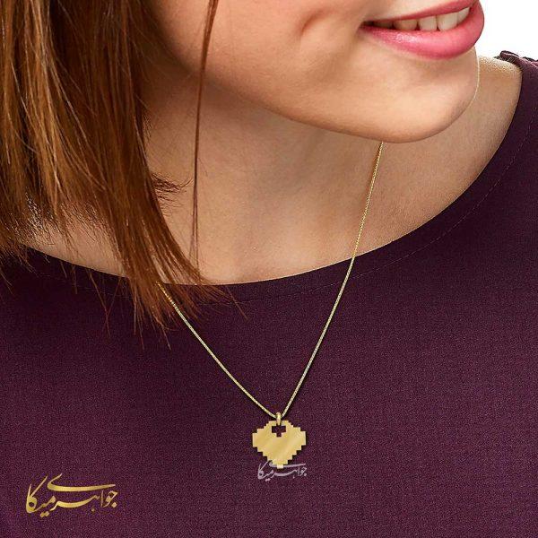 آویز گردنبند قلب پیکسل طلا 18 عیار کد 0610306