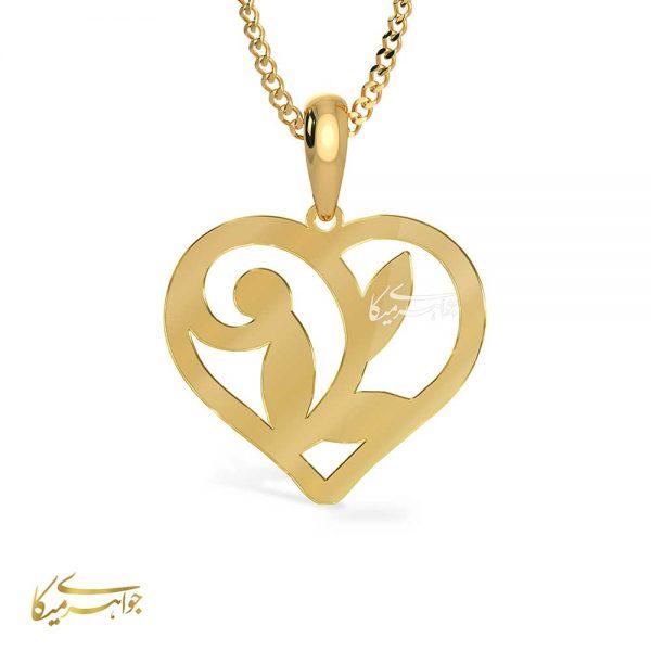 آویز گردنبند قلب و برگ طلا 18 عیار کد 0610307