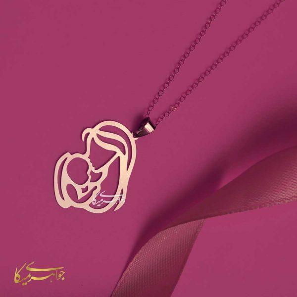 آویز گردنبند مادر و فرزند طلا 18 عیار کد 0610310 طلایی دیزاین