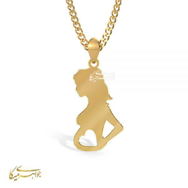 آویز گردنبند مادر و قلب طلا 18 عیار کد 0610312 طلایی