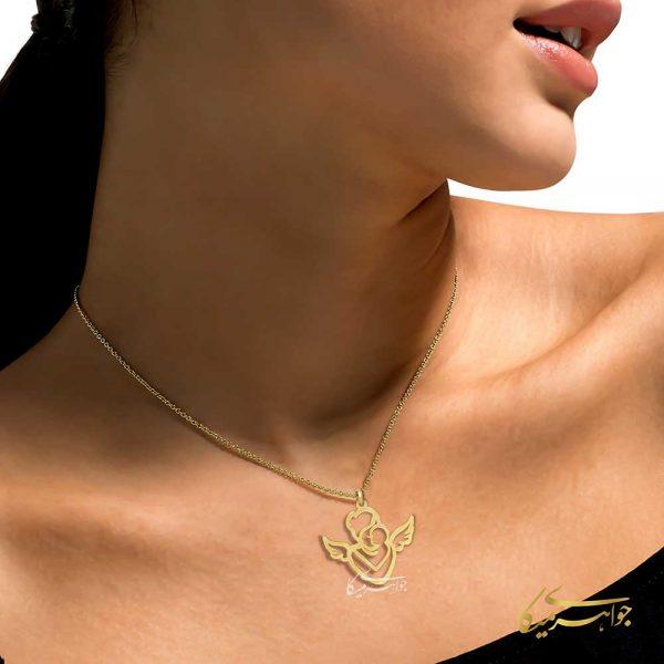 آویز گردنبند فرشته مادر طلا 18 عیار کد 0610316 مدلینگ
