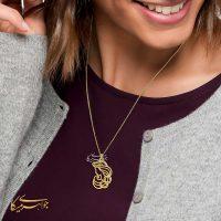 آویز گردنبند زن زیبا طلا 18 عیار کد 0610317 مدلینگ