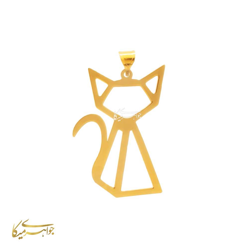 آویز گردنبند گربه اوریگامی طلا 18 عیار کد 0610323