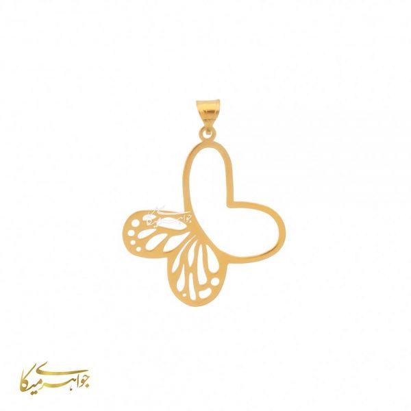 آویز گردنبند پروانه طلا 18 عیار کد 0610333